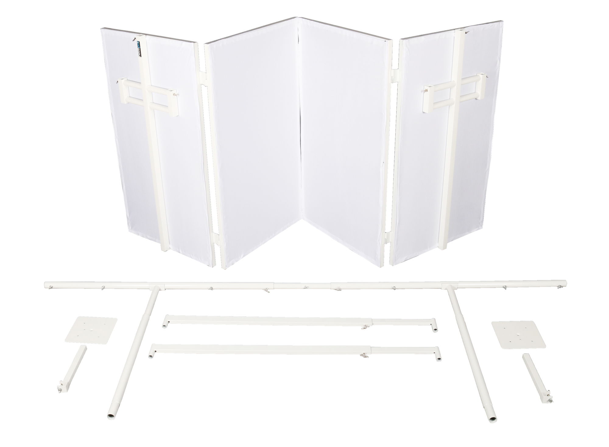 NOVOPRO SDX V2 Mobile DJ Booth White Folding DJ Booth with Table