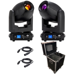 AMERICAN DJ ADJ 2 FOCUS SPOT 4Z BUNDLE With Free Rolling Flight Case and 25' DMX Cables FOCUS SPOT 4Z FREE CASE BUNDLE
