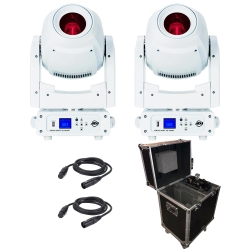 ADJ AMERICAN DJ FOCUS SPOT 4Z PEARL Bundle with Two Lights + Rolling Flight Case & DMX Cables FOCUS SPOT 4Z PEARL BUNDLE