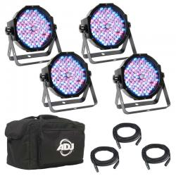 ADJ AMERICAN DJ MEGA FLAT PAK PLUS LED Par System with Four Mega Par Profile Plus MEGA FLAT PAK PLUS