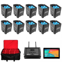 CHAUVET DJ 10 Freedom Par TRI-6 Bundle with FlareCON Air Adapter + FREE Android Tablet & Rolling Carry Bag 10 FREEDOM PAR TRI-6 BUNDLE + FLARECON AIR - BRLPAR BAG & ANDROID TABLET