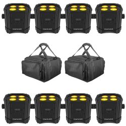 CHAUVET DJ 8 EZ LINK PAR Q4 BT Bundle with Carrying Bags