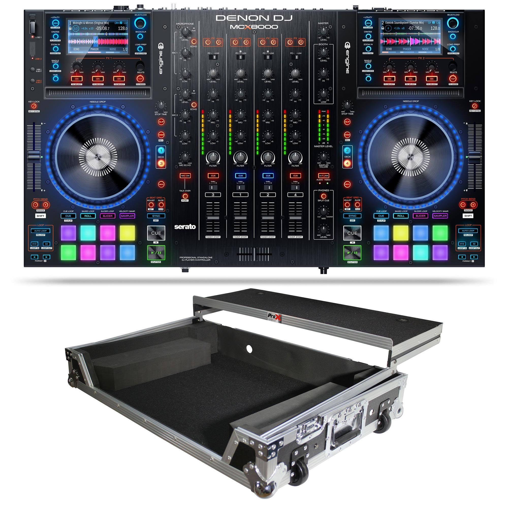 DENON DJ MCX8000 Controller for Serato DJ & Engine Bundle with Slide Shelf  Flight Case