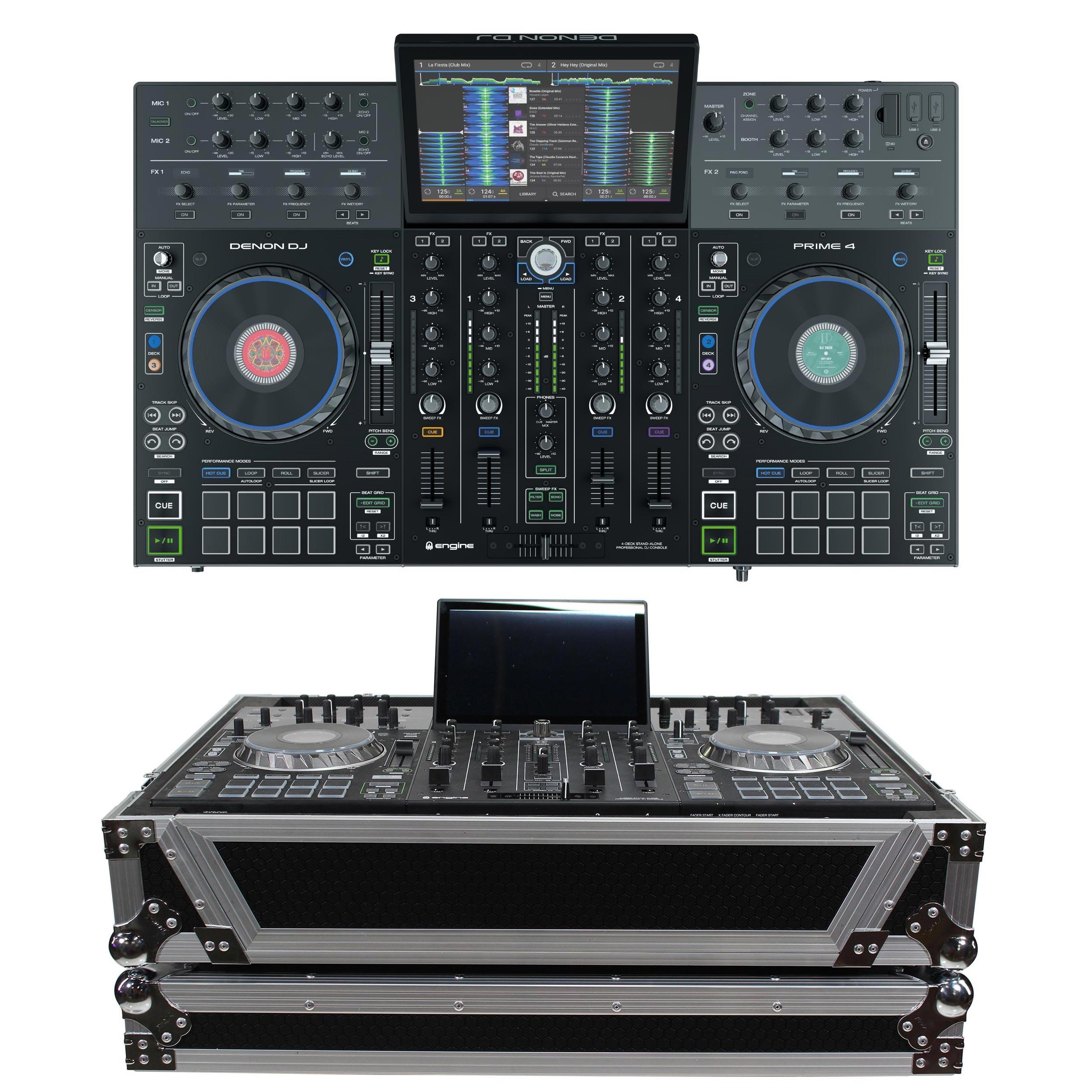 DENON DJ PRIME 4 4-Channel DJ Controller Bundle with FREE 1U Under Road Case