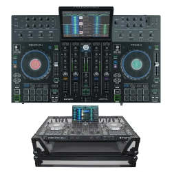 DENON DJ PRIME 4 Bundle with Four-Channel DJ Controller + FREE PROX Gray/Black Road Case PRIME 4 BUNDLE - GRAY/BLACK