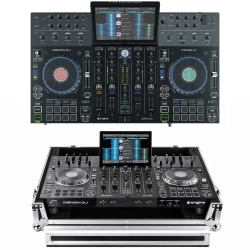 DENON DJ PRIME 4 Bundle with Four-Channel DJ Controller + FREE Odyssey Chrome/Black 1U Road Case PRIME 4 BUNDLE - CHROME/BLACK