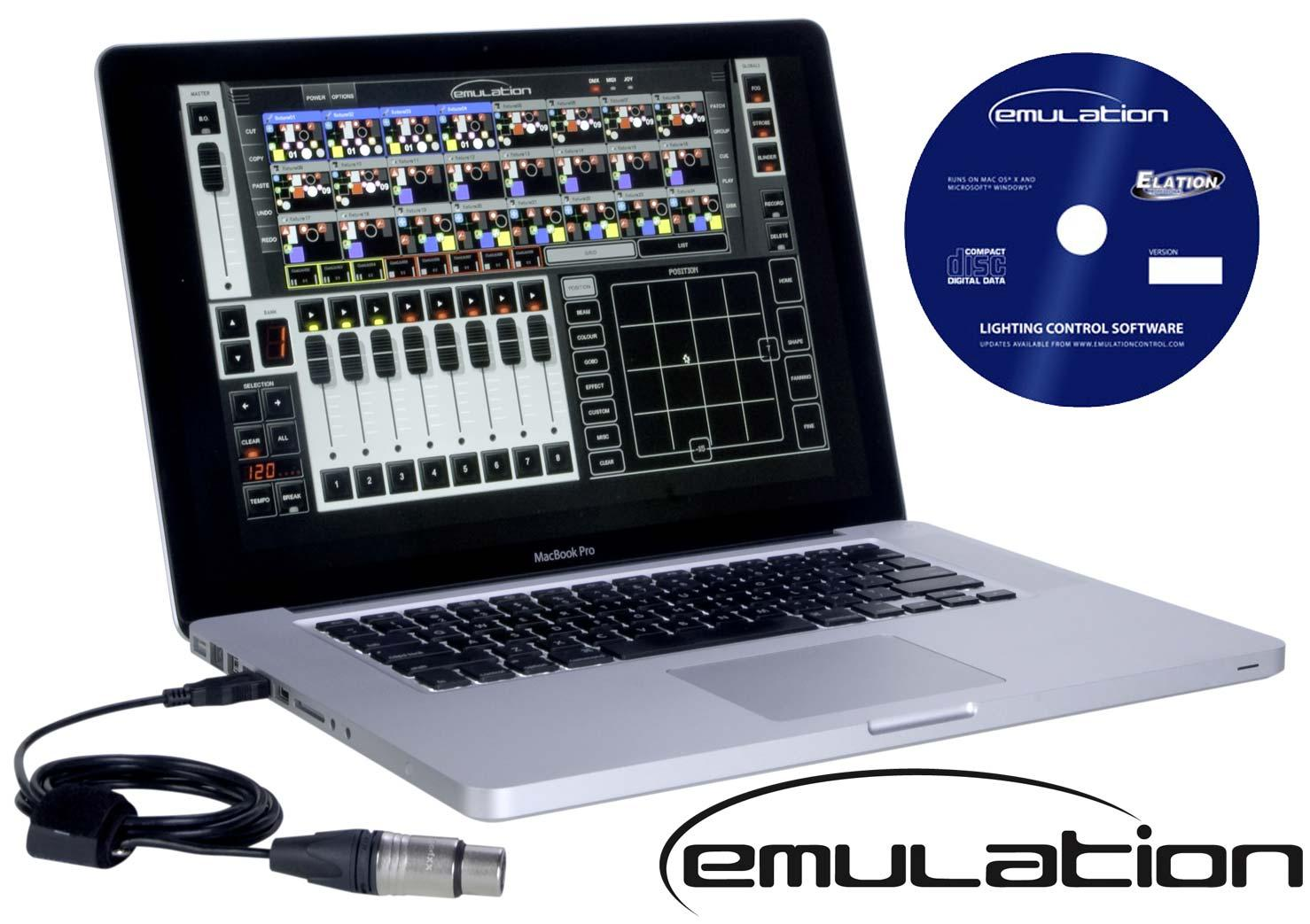 elation emulation dmx software w usb dmx cable pc mac. Black Bedroom Furniture Sets. Home Design Ideas