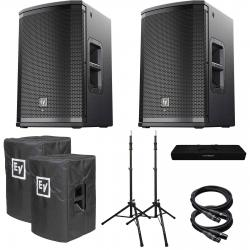 ELECTRO-VOICE ETX-15P Pair + Covers, FREE TS-100B Stands/Bag, 2 x 25' XLR Cable Bundle ETX15P-COVERS-FREE-STANDS-XLR-BUNDLE