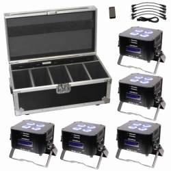 ETERNAL LIGHTING CUBEecho MK2 System5 Battery Powered LED Par System with Charging Road Case CUBEECHO MK2 SYSTEM5