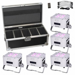 ETERNAL LIGHTING CUBEecho MK2 System5 White Battery Powered LED Par System with Charging Road Case CUBEECHO MK2 SYSTEM5 WHITE