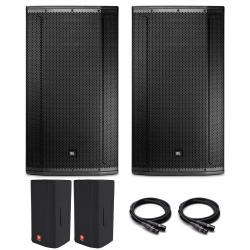 2 JBL SRX835P 3-way 2000 watt powered speakers bundle + 2 FREE Deluxe Covers & 50' Pro XLR Cables 2 JBL SRX835 + Free Covers and 50' Pro XLR Cables