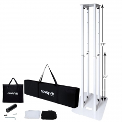 "NOVOPRO NOVO-PS1XL Adjustable Totem Stand 5'8"" Incl White and Black Scrims NOVO-PS1XL Totem Stand"