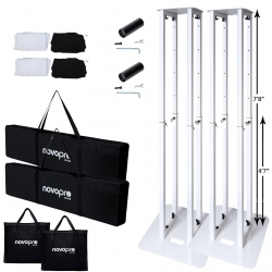 "NOVOPRO PS1XXL White Variable Height 7'8"" Podium Stands PAIR NOVO-PS1XXL Totem Stand PAIR"