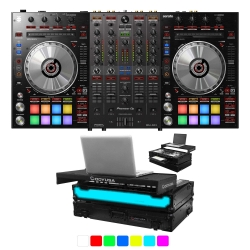 PIONEER DJ DDJ-SX3 + ODYSSEY FFXGSPIDDJSXGTBL LED Light Up Black Case With Tray Bundle DDJ-SX3 + FFXGSPIDDJSXGTBL Bundle