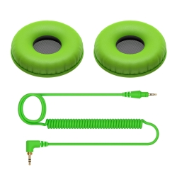 PIONEER DJ HC-CP08-G Coiled Cable and Ear Pads for HDJ-CUE1 in Green