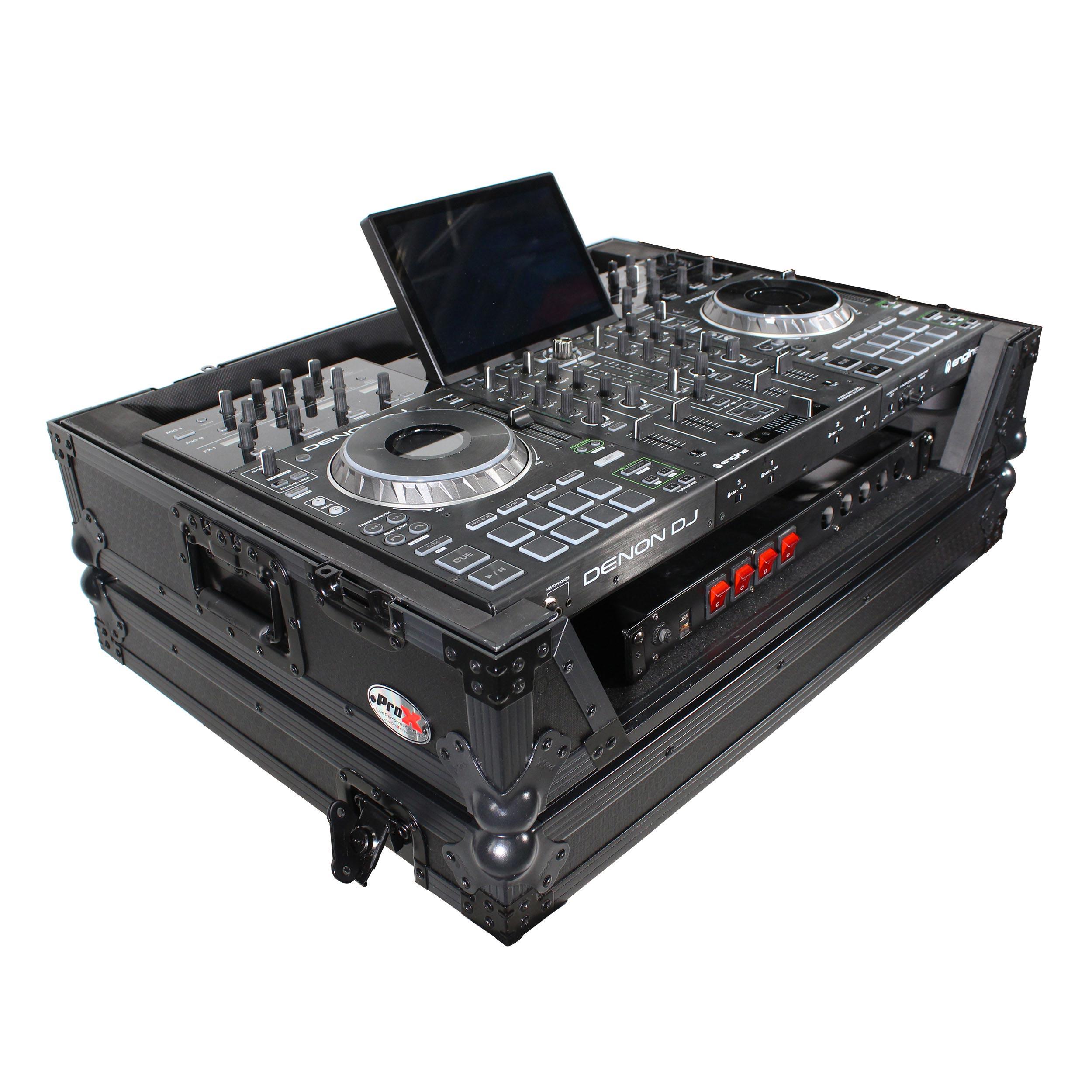 DENON DJ PRIME 4 4-Channel DJ Controller Bundle with FREE BLACK 1U Under  Road Case