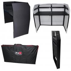 PROX XS-MESA-B MESA MK2 DJ Booth Table Frame with Black and White Scrim Covers and Carrying Bag MESA MK2 FOLDING DJ BOOTH