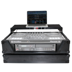 PROX XS-SX1K2UWLTBL Black 2U Laptop Shelf Flight Case for Pioneer DDJ-SX3, DDJ-1000 and Denon MC7000