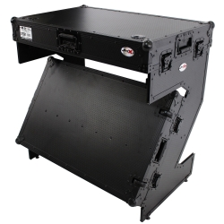 PROX XS-ZTABLEBL JR DJ Z-Table Workstation Portable Compact Flight Case Table Black on Black XS-ZTABLEBL JR