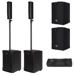 2 x RCF EVOX J8 Active Two Way Portable Vertical Array (B-STOCK) + 2 EVOX J8 COVERS + Pole Accessory Bag 2 x EVOX J8 B-STOCK + RCF COVERS