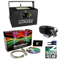 X-LASER MOBILE BEAT MIRAGE RGB LASER BUNDLE, QUICKSHOW XL, 25' ILDA CABLE, EZ-VARIANCE KIT MOBILE BEAT MIRAGE BUNDLE